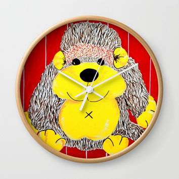 Cuddly Monkey , a primate playmate Wall Clock by Oakend Originals