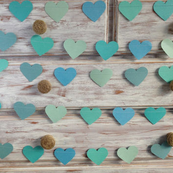 10 Metres Tropical Collection Ocean Aqua Azure Blue Large Heart Garland Shabby Chic beach wedding decoration, baby shower decoration