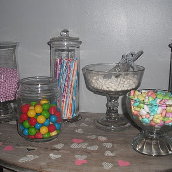 7 pc Wedding candy buffet jars ... candy bar Party containers ... glass containers plus Scoop