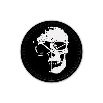 Skull Non-Ticking Silent Wall Clock with Modern and Nice Design for Wall Decoration (Black)