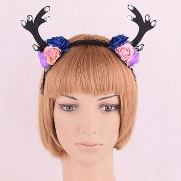 Antler Lace Resin Rose Flower Crown Headband