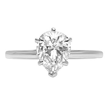 A Perfect 14K White Gold 2.5CT Pear Cut Russian Lab Diamond Solitaire Engagement Ring