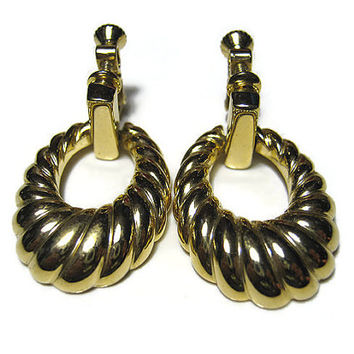 Napier Vintage Hoop Earrings Clip On Screw Back Gold Tone Oval Drop Retro Womens