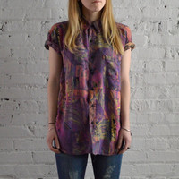 Purple Painter Button Up - L