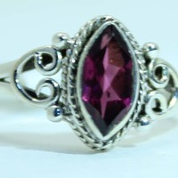 Sterling Silver Faceted Garnet ring