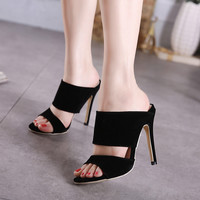 2017 Newest women open toe pumps black flock roman Gladiator high heels mules shoes womens summer thin heel sandals slippers