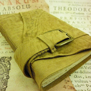 Leather Notebook, Diary Vintage Style, with old style stained paper, One Of A Kind Journal, Leather Bookmark Gift, Ready to Ship