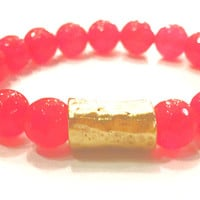 Luxe by Virtue Hammered Tube Bracelet- Hot Pink