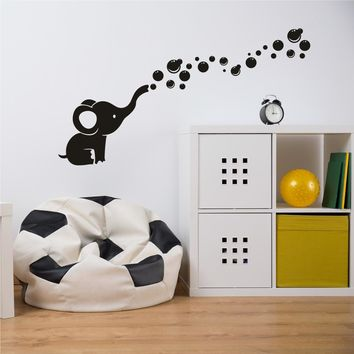 Elephant Bubble  Wall Decals Art Vinyl Wall Stickers for Nursery Baby Kids Room Decoration
