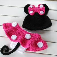 Hot Pink Minnie Mouse Beanie/Diaper Cover by JustBecauseBowtique