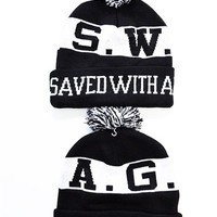 Christian SWAG Saved With Amazing Grace Beanie and Accessories by JCLU Forever