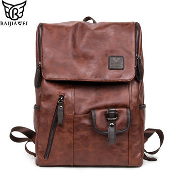 BAIJIAWEI 2017 New Oil Wax Leather Backpacks Western Style Mix Cow Leather Bag For Men Travel Mochila Zip Casual Backpack