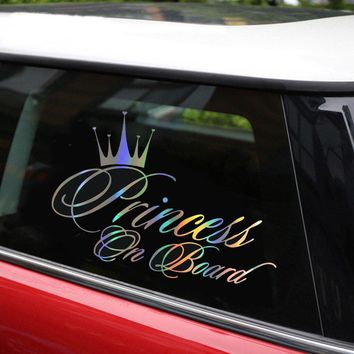 Car Sticker Princess Baby On Board 16.5*10.9CM Funny Car Decal Reflective Laser Vinyl Car Sticker 3D Car Styling Black Silver