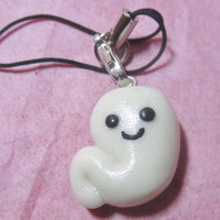 Glow in the Dark Cute Ghost Charm or Cellphone Strap