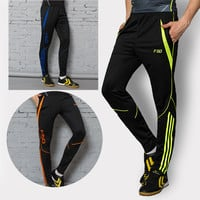 2017 Zipper pocket Soccer Training Long Pants Professional Men Football game And Running Athletic Sportswear Jogging Trousers