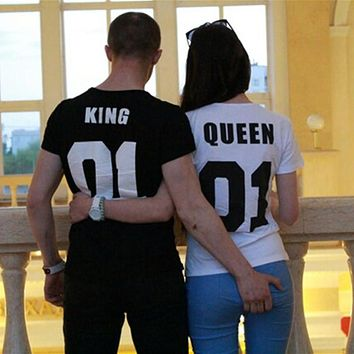 Valentine Shirts Woman Cotton King Queen 01 Funny Letter Print Couples Leisure T-shirt Man Tshirt Short Sleeve O neck T-shirt
