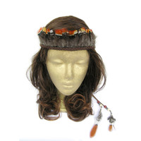 Boho Feather Headband, Indian Feather Headdress, Native American, Braided Hair Headband, Feather Crown, Feather Headdress