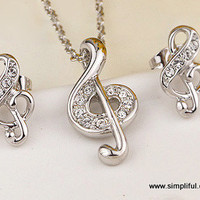 Musical Note Pendant and Earring set