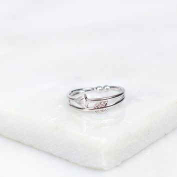 Double Bar Arrow Ring Silver