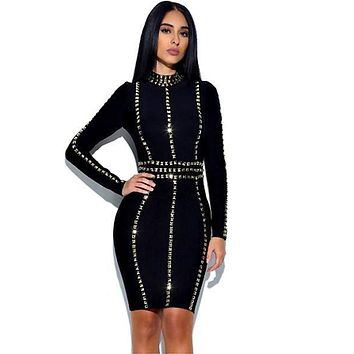 Untamed Bandage Embellished Dress(Ready To Ship)