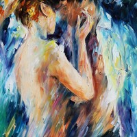 "KISS OF PASSSION — PALETTE KNIFE Oil Painting On Canvas By Leonid Afremov - Size 24""x36"""