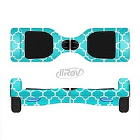 The Teal And White Seamless Morocan Pattern Full-Body Skin Set for the Smart Drifting SuperCharged iiRov HoverBoard