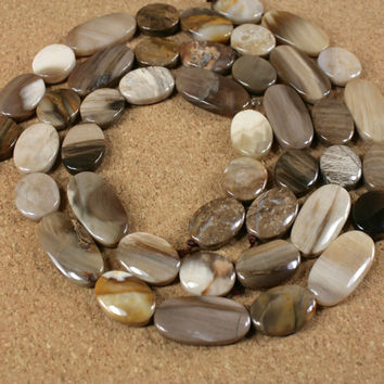 Petrified Wood Beads - Smooth Oval Shaped Light Brown Tan and Silver Beads, 16 inch strand