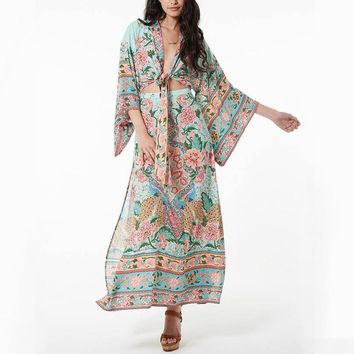 Women set kimono top and maxi skirt in peacock floral print Kimono sleeves