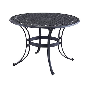42-inch Round Black Metal Outdoor Patio Dining Table with Umbrella Hole