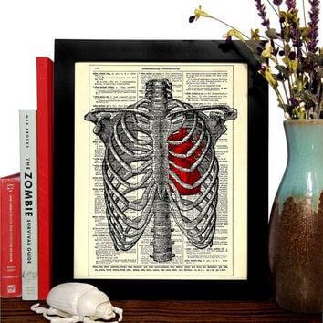 Rib Cage With Anatomical Heart Vintage Book Print, Eco Friendly Home, Dorm, Bathroom, Office Decor, Dictionary Book Print Buy 2 Get 1 FREE