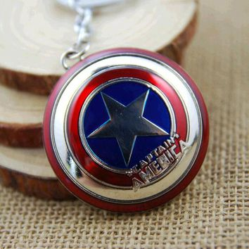 Marvel Super Hero Captain America pendant key ring key holder llaveros metal avengers Cosplay Keychain jewelry