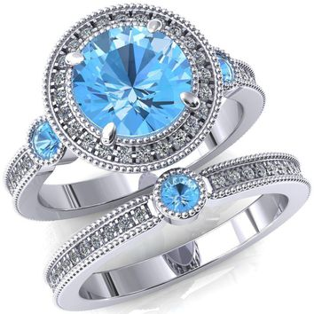Brachium Round Lab-Created Aqua Blue Spinel Bezel Milgrain Halo 3/4 Eternity Accent Diamond Ring