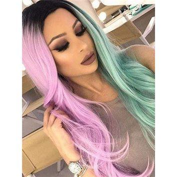 Long Pink Green Double Colors Straight Synthetic Lace Front Wig