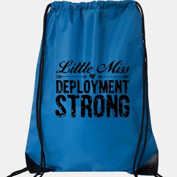 "Drawstring Gym Bag  ""little miss deployment strong""  Funny Workout Squatting Gift"