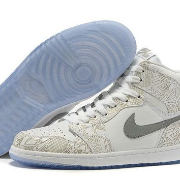 "Nike Air Jordan 1 Retro 30th Anniversary ""Laser"" 705289 100 WHITE METALLIC SILVER"