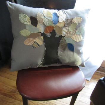 Silver Tree is a handmade, hand-appliqued, decorative throw pillow.