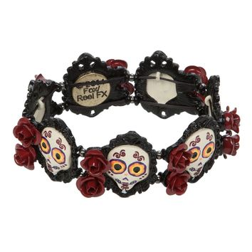 Licensed cool NEW The BOOK OF LIFE Rose Filigree Skull Beads Stretch Metal Bracelet  HOT TOPIC