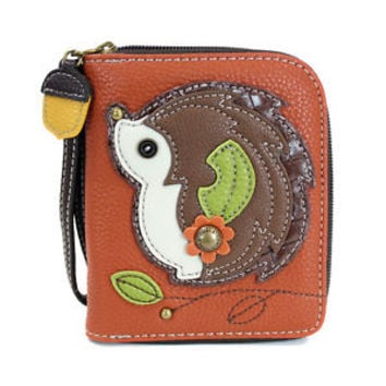 CHALA HEDGEHOG ZIP AROUND WALLET ORANGE FAUX LEATHER