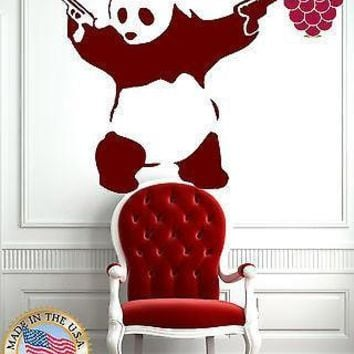 Wall Sticker Vinyl Decal Animal Panda Bear Gangster Guns Funny z755 Unique Gift .
