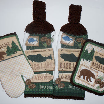 Crochet Hanging Towels, Pot Holder, Oven Mitt, Cabin Decor, Outdoors, Fishing, Camping,