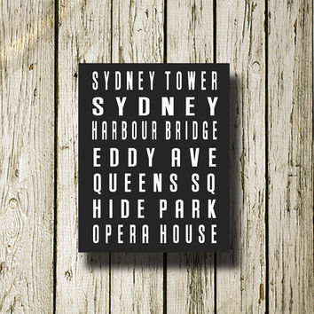 Sydney City Subway Sign Printable Instant Download Print Poster City Name Art Typography Home Decor  Wall Decor S009