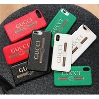 GUCCI MILTCOLOR CASE New popular logo iphone 7/8plus mobile phone case gucci simple letter iphone8 leather case X.
