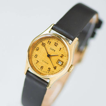 Vintage women's watch classic Dawn, gold plated watch yellow face, lady watch small retro, watch for women gift, new premium leather strap