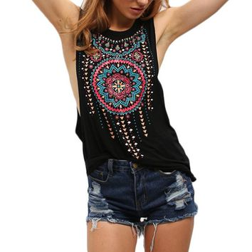 New Summer Sexy Women Tank Tops Black Round Neck Sleeveless Vintage Tribal Print Fitness Casual Tank Tops Femme Tops F1