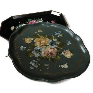 Vintage Tole Tray Hand Painted Metal Serving Tray with a Floral Rose Design Oval Scalloped Toleware Green Yellow Blue Cottage Chic