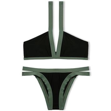 Sexy 2017 Brazilian Bikini 2017 Swimwear Bandage Swimsuit Contrast Color Patchwork Bathing Suit Padded Beachwear -03122