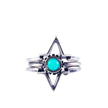 Turquoise Power of Three Ring in Silver Ox