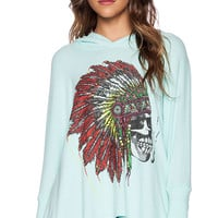 Lauren Moshi Wilma Skull Headdress Oversized Pullover With Hood in Turquoise