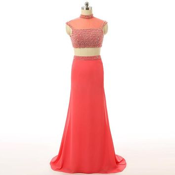 Red Mermaid High Neck Cap Sleeve Chiffon Beaded Women Special Occasion Evening Dresses Elegant Party Dress