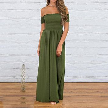 Off The  Shoulder  Loose Boho Long Maxi Dress